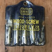 Vintage Wood Screw Drills Bits Globemaster No. 59220 4 bits