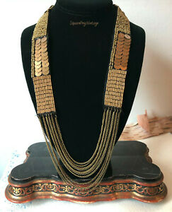 Chic Woven Bead & Chain Necklace Matte Gold Findings on Black Fabric Adjustable