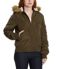 NEW Madden Girl Olive Faux Fur-Trim Crop Jacket UK 14 or L