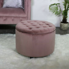 Round pink velvet upholstered button top storage stool pouffe bedroom boudoir