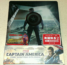 New Captain America: Winter Soldier 3D + 2D Blu-ray Hong Kong Steelbook OOP