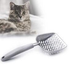 Metal Cat Litter Scoop Sifter Aluminum Alloy with Flexible Long Holder Grey