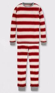 Burt's Bees Kids' Organic Cotton Rugby Striped Pajama Set - Red Boy Girl Sz 8 10
