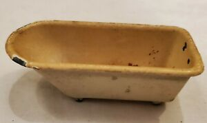 "ANTIQUE TOOTSIETOY CAST IRON METAL TOY TUB  Orig YELLOW & WHITE PAINT 3 5/16"" L"