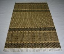 4'x 6' Handmade Jute Block Print Rug Home Decorative Traditional Carpet DN-1338