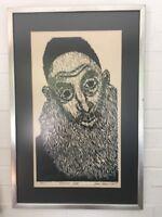 Vtg Original Framed Woodcut Woodblock Russian Rabbi Gene Shaw 6/25 Signed Mcm