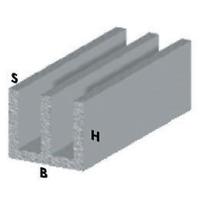 profilo canalino doppia U cm 100 h argento silver 16x7x1 mm alluminio