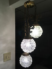 Antique Swag Hanging Pendant 3 Tier Lamp Light Fixture Crystal Starburst Shades