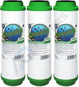"3 x Aquafilter 10"" Water Filter Cartridge Coconut Shell With KDF-55 GAC FCCBKDF"