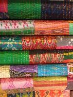 Indian Sari Kantha Blanket Cotton Vintage Gudari Patchwork Quilt Silk Boho Ralli