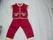 BN boys chinese kungfu costumes age 4-5 red wine 2 piece set