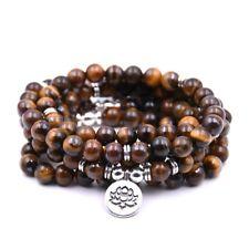 Hot Tiger Eye Stone Buddhist Lotus 108 Prayer Beads Mala Lucky Bracelet/Necklace