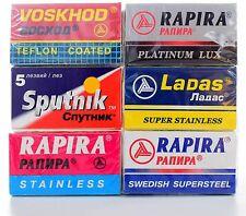 30 Russian Razor Blades Sampler Rapira, Voskhod, Sputnik, Ladas & Rating Sheet