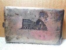 Nn~Bagdad Cigarette/ Card Case Art Deco Silver/ Chrome Metal Labeled Vtg.-Iraq
