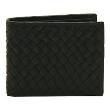 Hansson - Black Woven Billfold Wallet with Removable Card Sleeve in Cow Leather