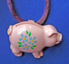 BUY1&GET1@50%~Avon NECKLACE PIGGY Coin BANK Pig W Flowers & Purple Rope Vtg
