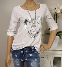 ITALY Longsleeve VINTAGE Shirt Herz NIETEN Weiß Silber 36 38 40 Neu Baumwolle