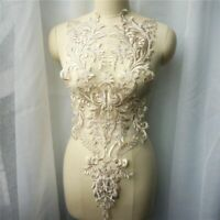 Floral Wedding Gown Appliques Embroidered Lace Gold Thread Flower DIY Sew Patch