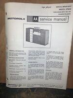 Motorola Tape Player -Service Manual- model CP5CE Schematics,parts List.