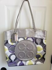 COACH Julia Op Art Signature Silver Lavender Shoulder Bag Tote