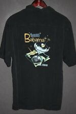 TOMMY BAHAMA 'BAR NONE' Men's EMBROIDERED SILK Shirt sz M Medium Black
