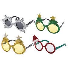 Pack of 4 Assorted Novelty Christmas Fancy Dress Glitter Glasses
