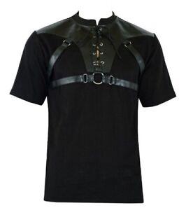 Men's Gothic Goth Rock Metal Black T-Shirt Top Steampunk casual clothing