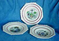 "3 Antique C1847 Staffordshire ROBINSON CRUSOE Transferware 7 5/8"" Child's Plates"