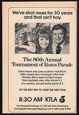 1974 KTLA TV AD~86TH TOURNAMENT OF ROSES PARADE~CHICK HEARN & JUNE LOCKHART