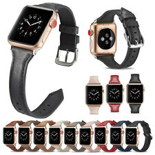 For Apple Watch Series 6/5/4/3/2/1/SE Slender Genuine Leather Watch Band Strap