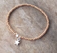 Dainty Rose Gold Silver Double Star Charm Bead Surfer Bracelet Stretch Stacking