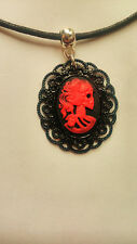 Gothic Lady Vintage skull Black & Red Cameo black wax cord necklace / choker