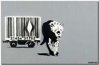 "BANKSY STREET ART CANVAS PRINT Barcode leopard gray 24""X 36"" stencil poster"
