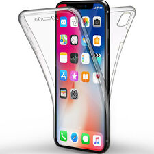 COVER PER IPHONE X 10 APPLE FULL BODY 360 FRONTE RETRO CUSTODIA TRASPARENTE TPU