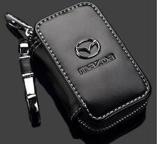 Genuine Leather cowhide Car Key Holder Keychain Ring Case Bag For Mazda