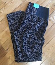 NEW Womens ONE 5 ONE Mushroom Brown Floral Velvet Pull On Pants Size Large L