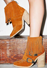 NEW NIB $260 ANTHROPOLOGIE FRINGE COWBOY RUST BROWN SUEDE FESTIVAL ANKLE BOOTS 6