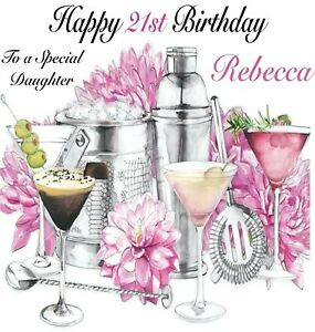 Personalised Cocktails Birthday Card Sister, Niece, Daughter etc18th 21st 30th
