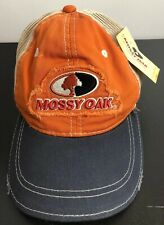 Mossy Oak Orange Ball Cap Hat Distressed Adjustable Back One Size New With Tag