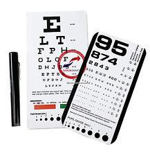 Snellen + Rosenbaum Pocket Eye Charts & penlight With Pupil Gauge 3 pieces Total