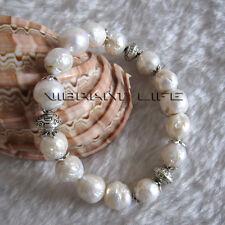 "8"" 9-10mm White Kasumi A Freshwater Pearl Bracelet Elastic UK"