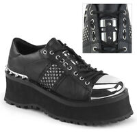 Demonia GRAVEDIGGER-02 Men's Black Punk Goth Platform Lace-Up Oxford Shoes