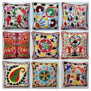Indian Handmade Cotton Pillow Exclusive Suzani Embroidery Cushion Cover 40x40cms