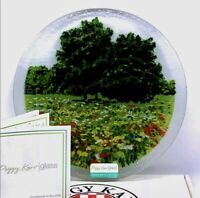 """Peggy Karr Signed And Dated Fused Art Glass Field Of Flowers Round Plate 8"""""""