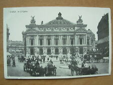 VINTAGE POSTCARD FRANCE PARIS L'OPERA THE OPERA HOUSE - HORSE & CARTS  507
