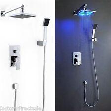 "8"" LED Rainfall Shower head Arm Control Valve Handspray Shower Faucet Set"