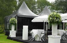 Pagode Partyzelt Festzelt 4x4m Farbe schwarz / 2x Panoramafenster / 1x Rolltür