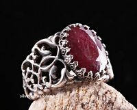 Turkish handmade 925 Sterling Silver red ruby NATURAL stone Mens ring ALL SİZE