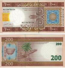 A SAISIR     BILLET  DE 200  OUGUIYA     MAURITANIE    NEUF   2006    !!!!   UNC