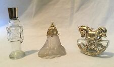 Avon Lot of 3 Clear Glass Decanter Bottle USED Vintage Toy Soldier Horse Flower